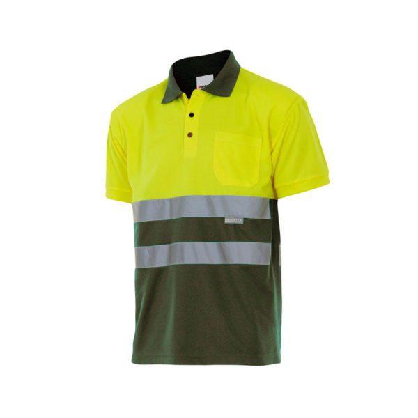 polo-velilla-alta-visibilidad-173-verde-caza-amarillo