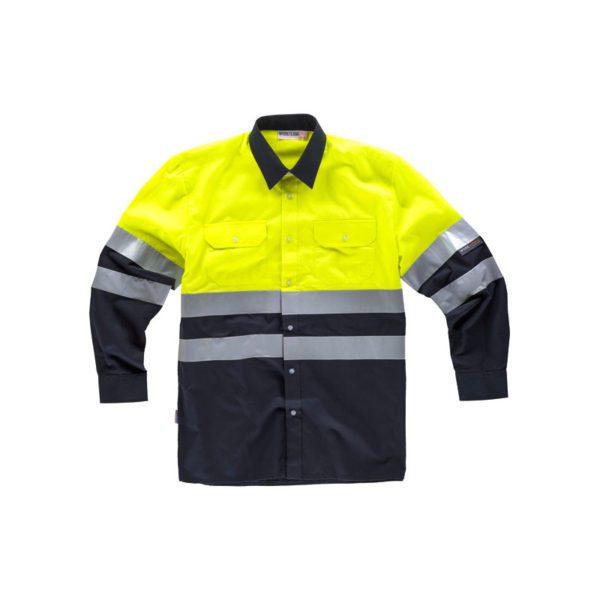 camisa-workteam-alta-visibilidad-c3813-azul-marino-amarillo