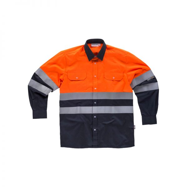 camisa-workteam-alta-visibilidad-c3813-azul-marino-naranja