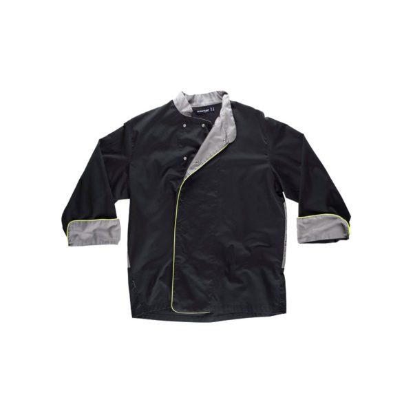 chaqueta-workteam-cocina-b9240-negro-gris-amarillo